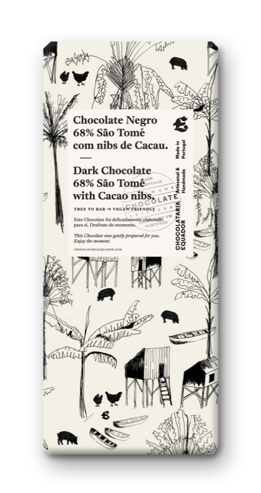 Dark chocolate 68% cocoa and nibs